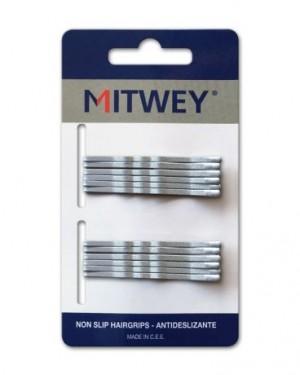 12 Clip Mitwey Plata Rizado 50mm Antideslizante